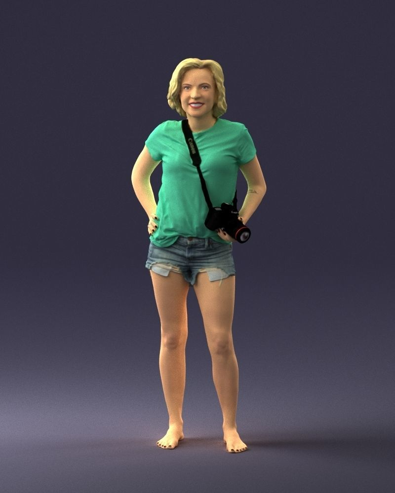 Blonde in shorts with a camera 0229 3D Print Ready