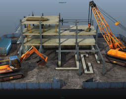 3d model low-poly construction pack - crane - digger and props - low poly