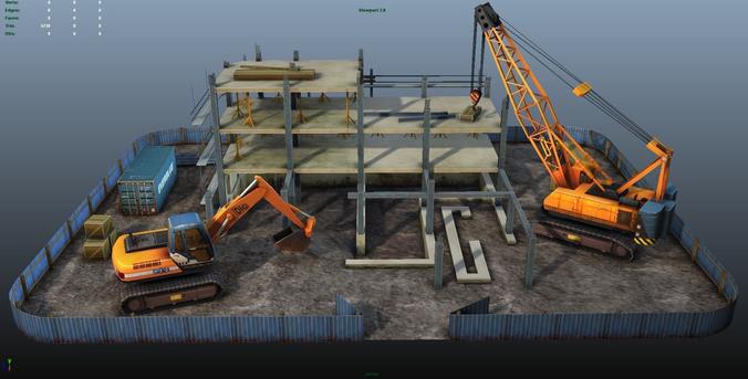 construction pack - crane - digger and props - low poly 3d model low-poly max obj mtl fbx ma mb tga 1