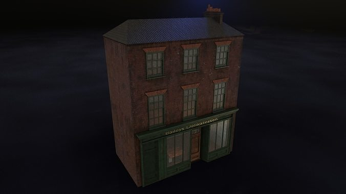 Old brick house with shop
