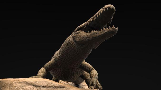 realistic alligator high poly 3d model obj ztl 1