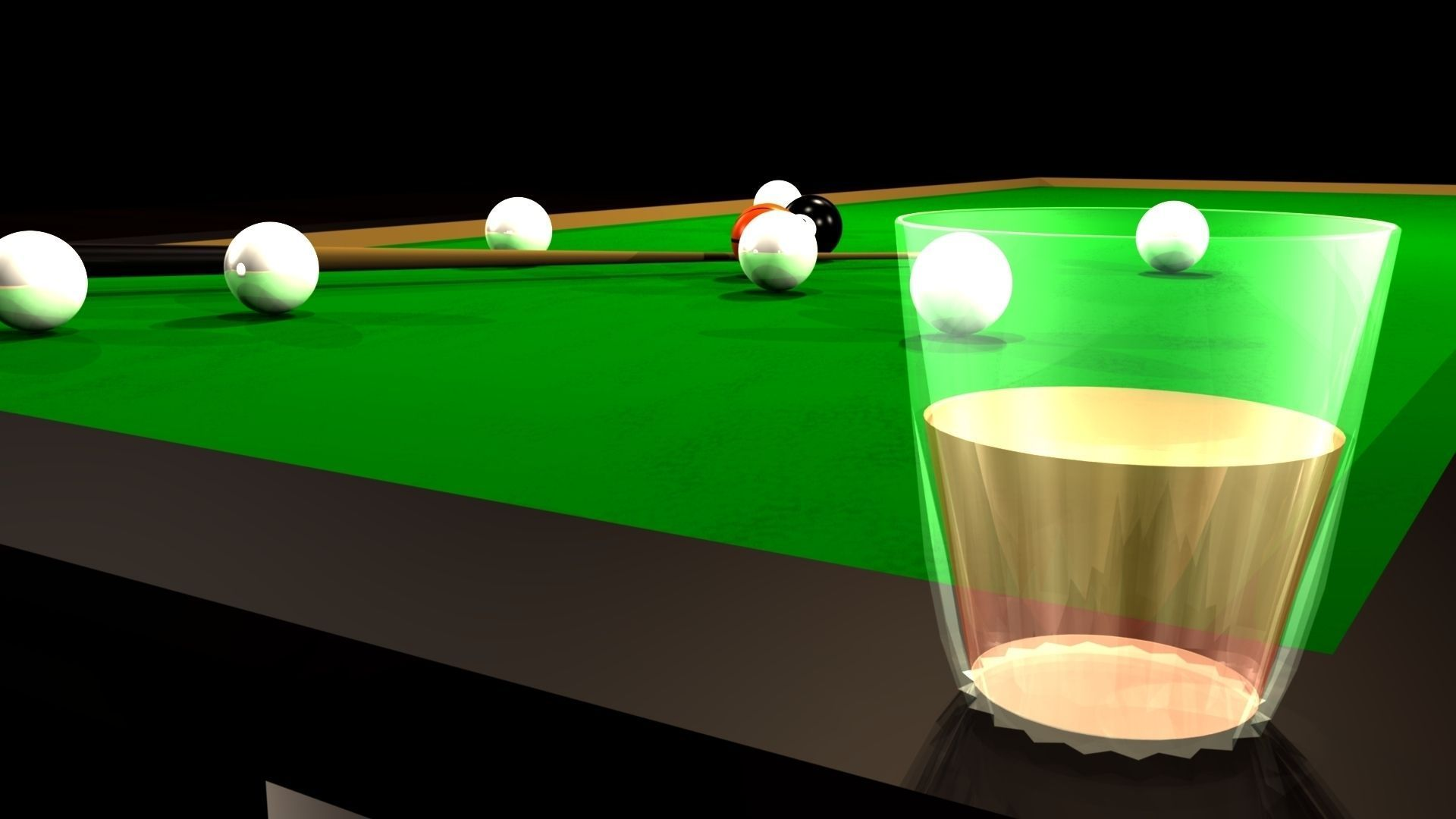 Snooker table glass cup 3d model obj fbx ma mb for Glass billiard table