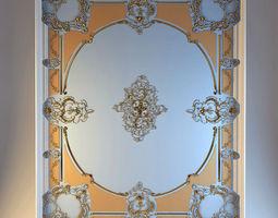 Ceiling moldings living room 3D