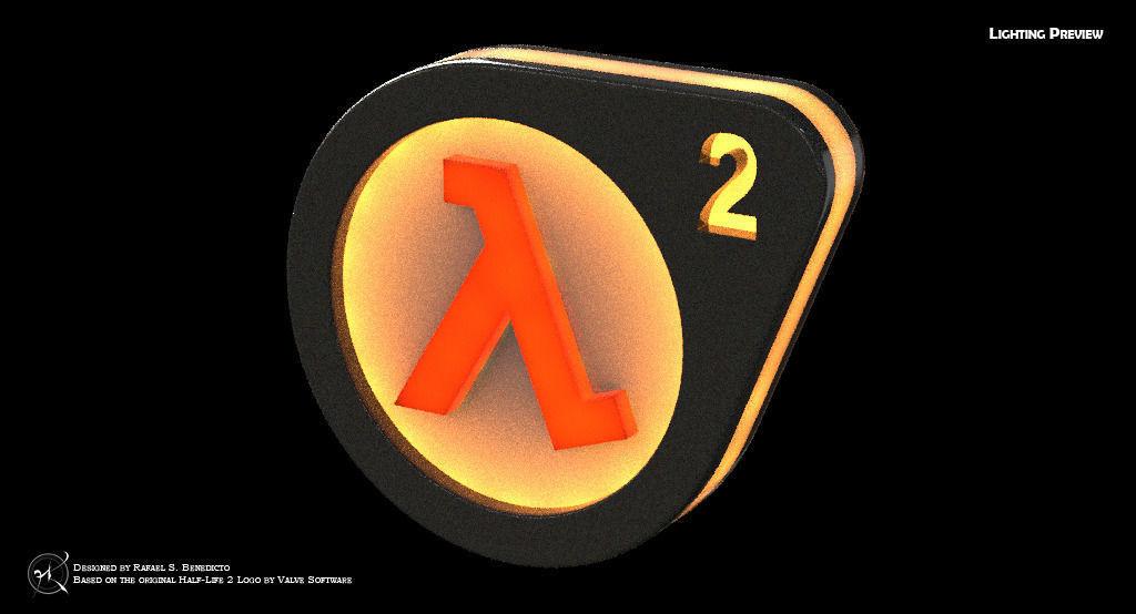 Do it yourself half life 2 logo lightbox 3d model 3d printable obj