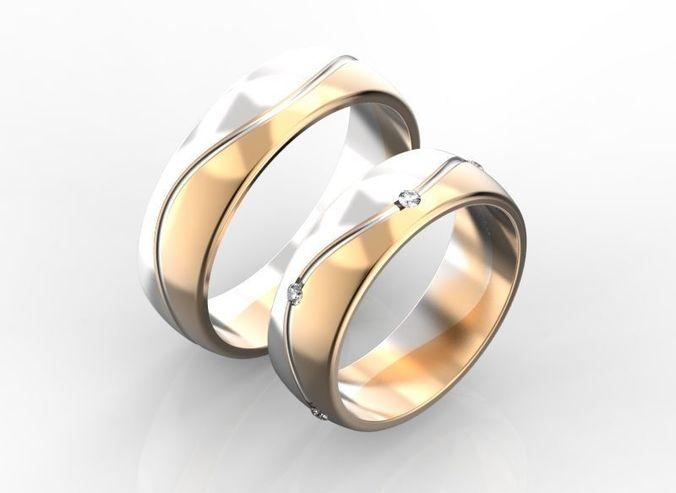 3d Printable Model Two Tone Wedding Rings Cgtrader