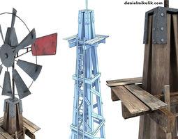 3D model Low Poly Wild West Wind Mill
