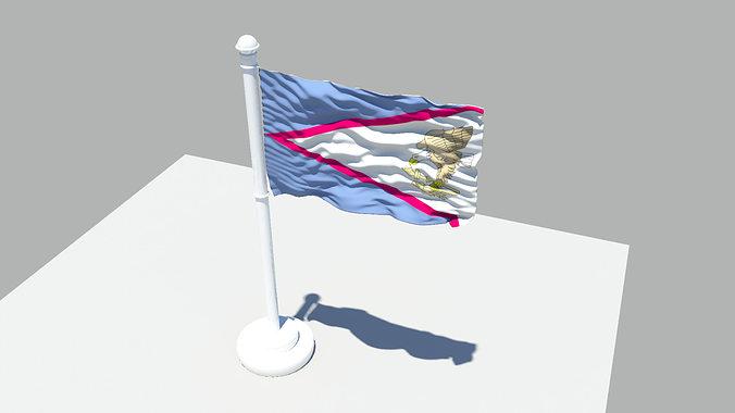 american samoa flag 3d model obj mtl fbx ma mb 1