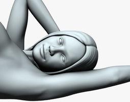 Woman lying down 01 naked 3D print model