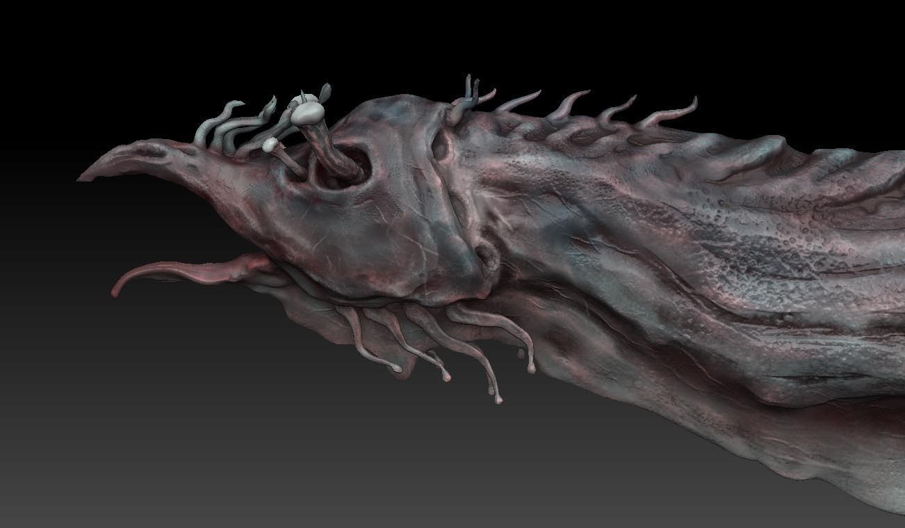 3d model aquatic monster or alien sculpt vr ar low for Monster 3d model