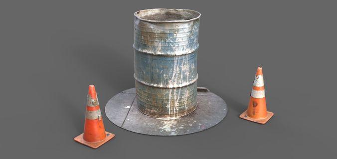 55 gallon barrel 3d model obj mtl 1