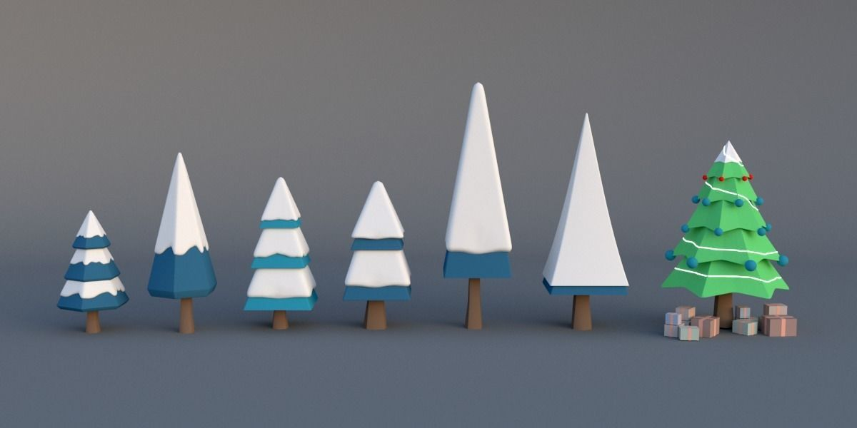 Christmas tree low poly