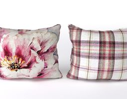 3d voyage cushion - peony pink -piped pillow