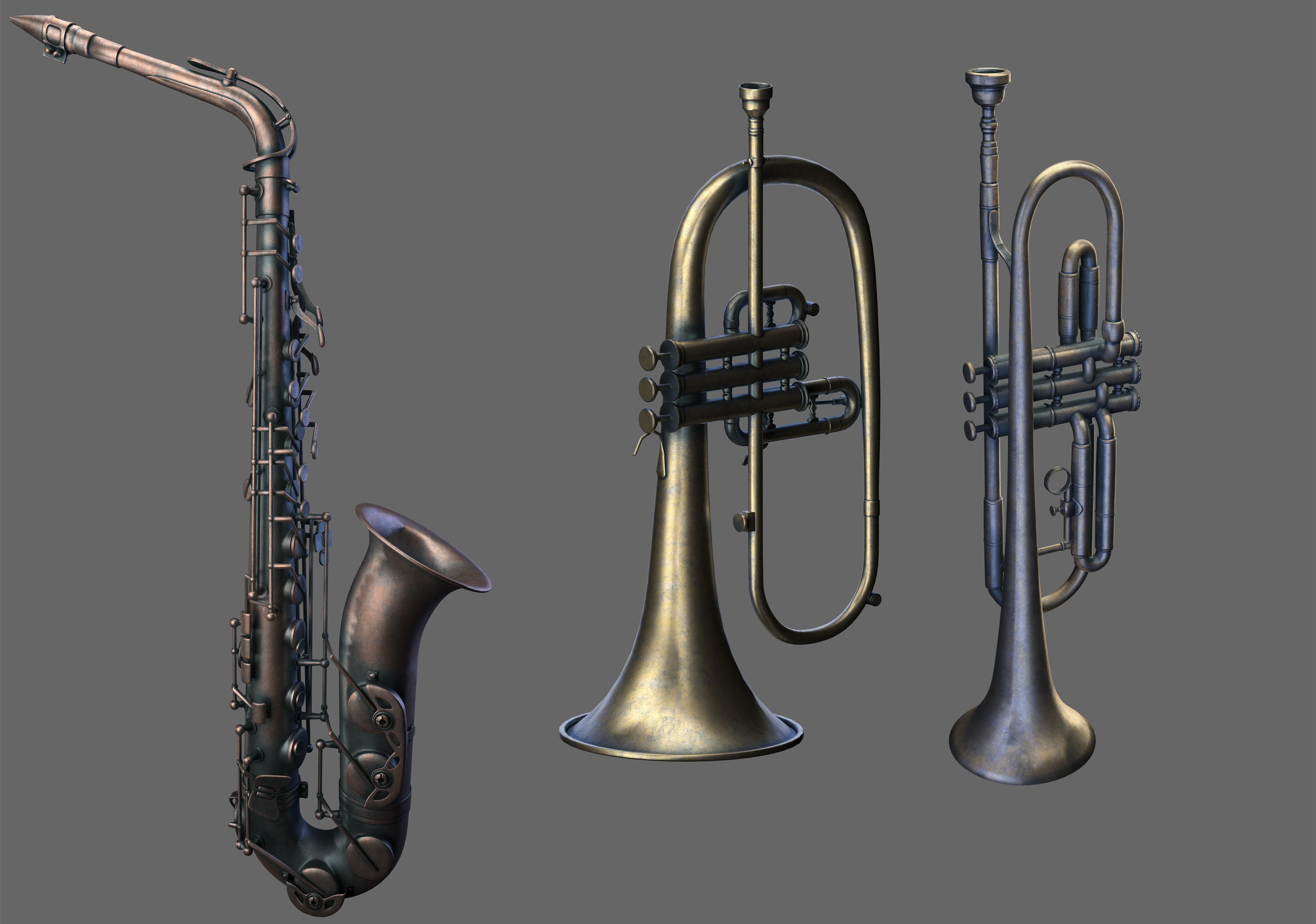 Wind Instruments 3  saxophone  three wind instruments
