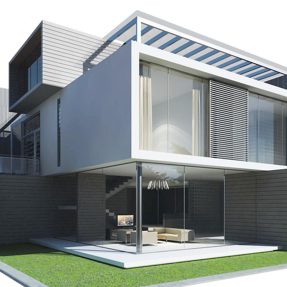 Modern House 3D Model M OBJ 3DS FB Grader.com - ^