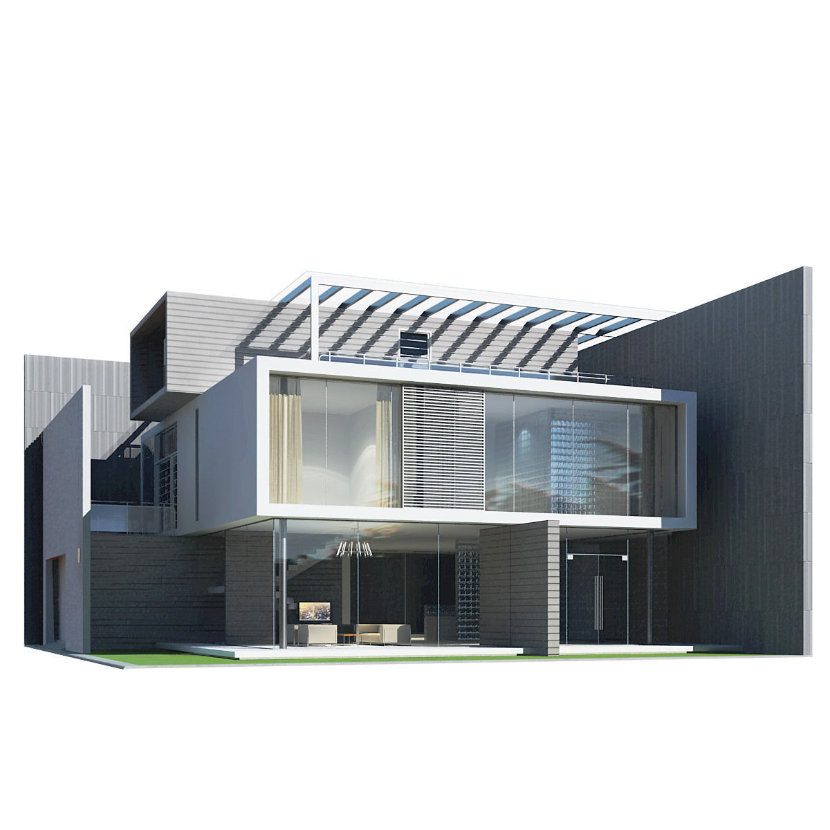 Modern house 3d model max obj 3ds fbx for Modern house model