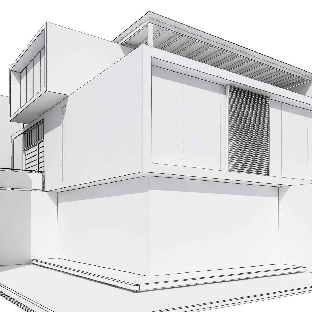Modern house 3d model max obj 3ds fbx 8