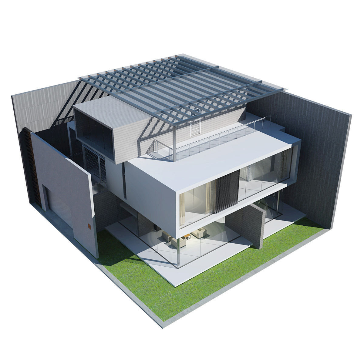 Modern house 3d model max obj 3ds fbx Home 3d model