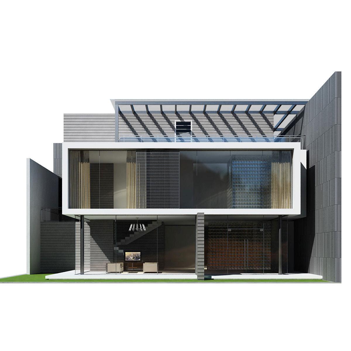 Modern house 3d model max obj mtl 3ds fbx 4