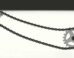 Animated Chain and Sprocket 3D Model