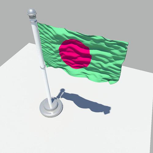 bangladesh flag 3d model obj mtl fbx ma mb 1