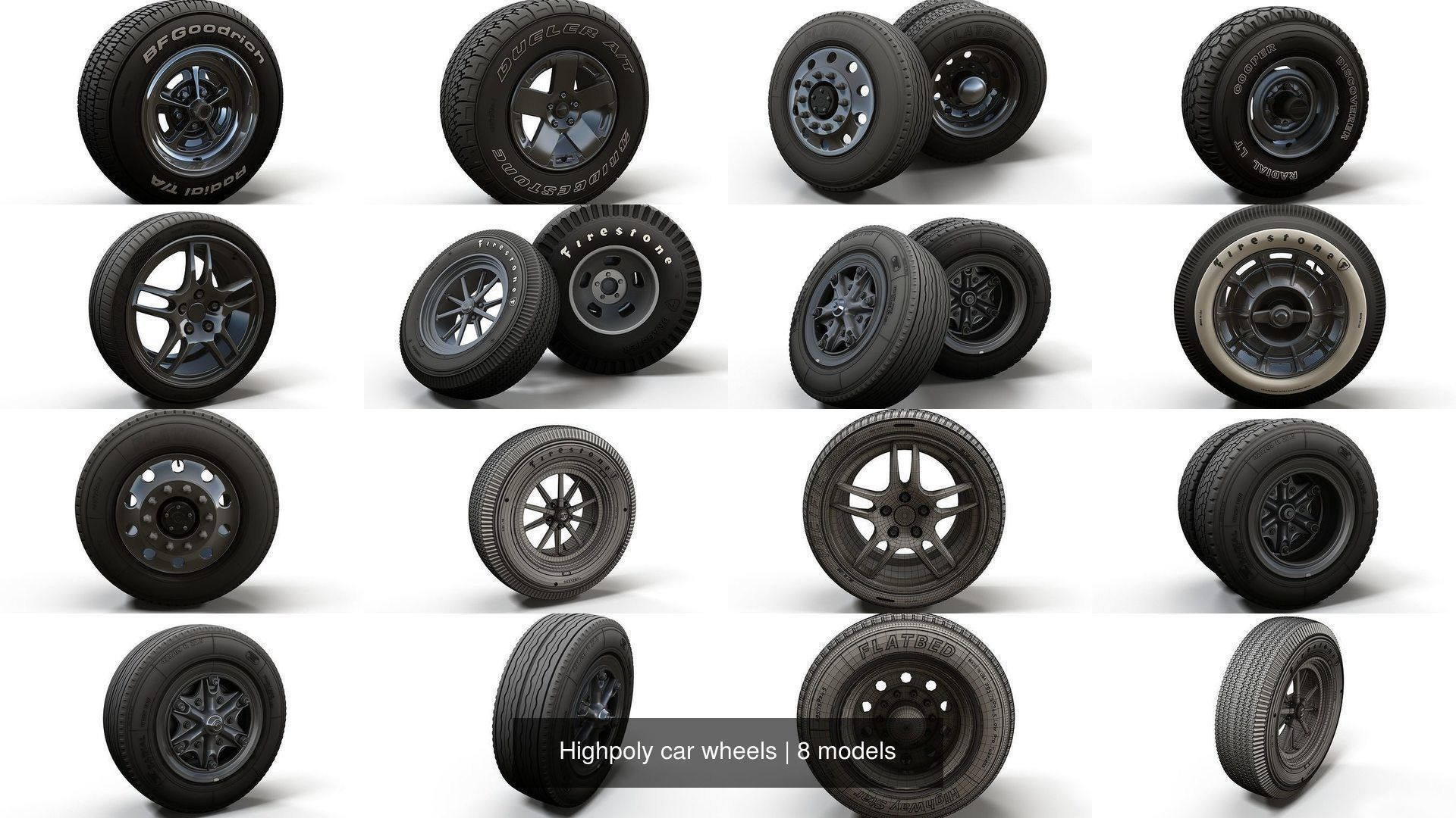 Highpoly car wheels