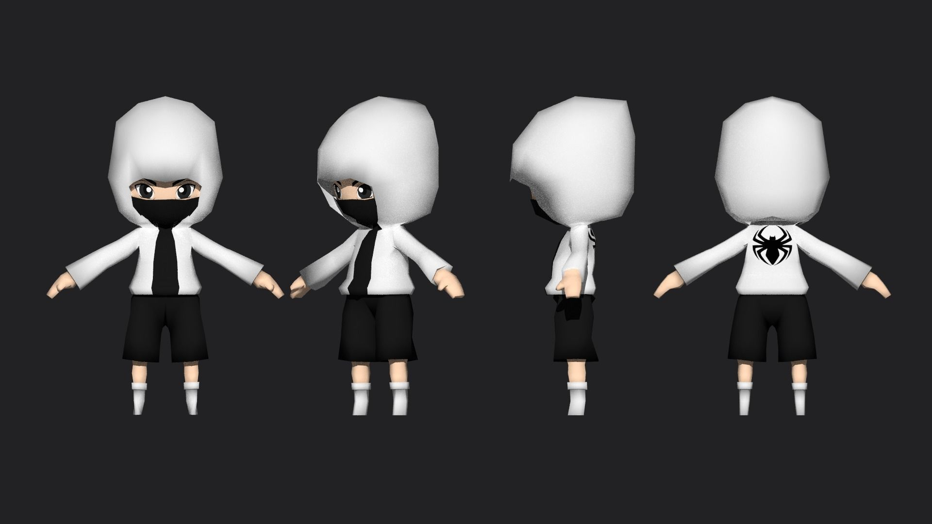 LOW POLY CHIBI HOODY CHARACTER
