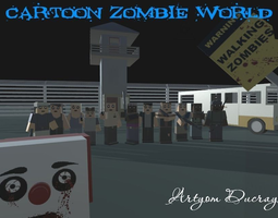 3D asset Cartoon Zombie World