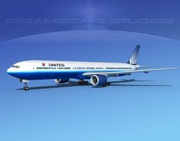 3D Boeing 777-300 MP United Airlines