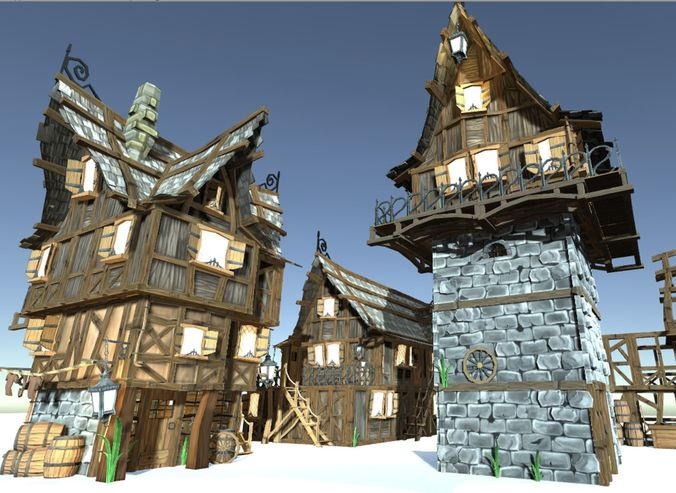 3d Model Medieval Fantasy Town Kit Cgtrader