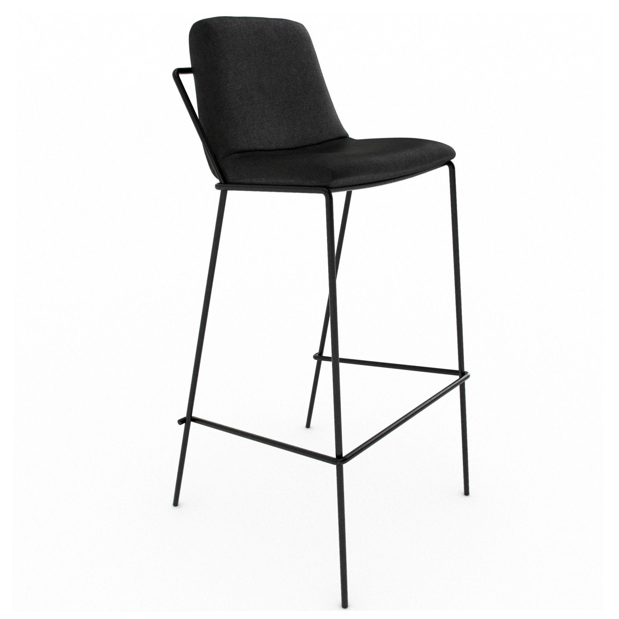 ... Industry West Sling Bar Stool Upholstered 3d Model Max Obj Dxf Ztl Mat  2 ...