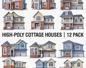 3D model Cottage Houses - 12 Pack