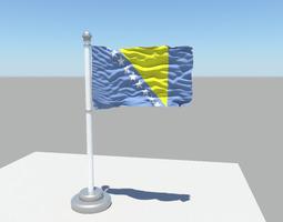 3D model Bosnia and Herzegovina flag