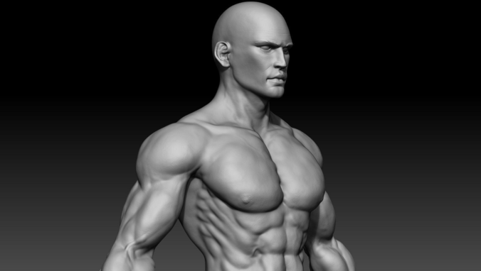 realistic muscular man 3d model obj mtl ztl 1