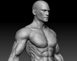 realistic muscular man 3d model obj ztl