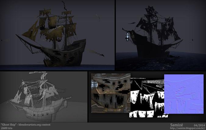 ghost ship 3d model low-poly obj mtl 3ds fbx blend 1