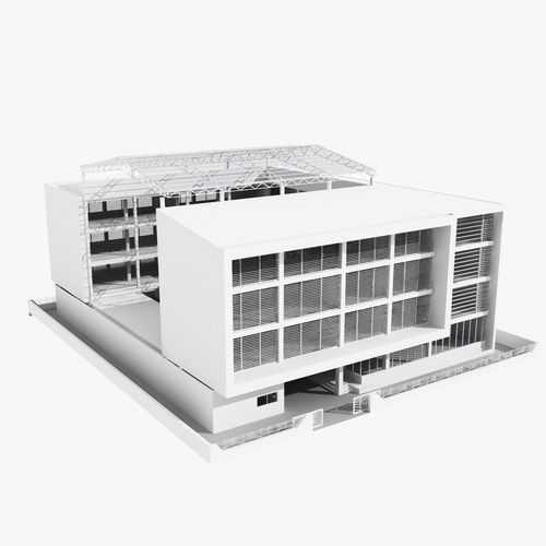 Low rise office building with courtyard 3d model for Exterior 3ds max model