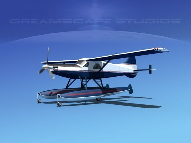 dehavilland dhc-2 turbo beaver v07 3d model animated max obj mtl 3ds fbx lwo lw lws dxf 1