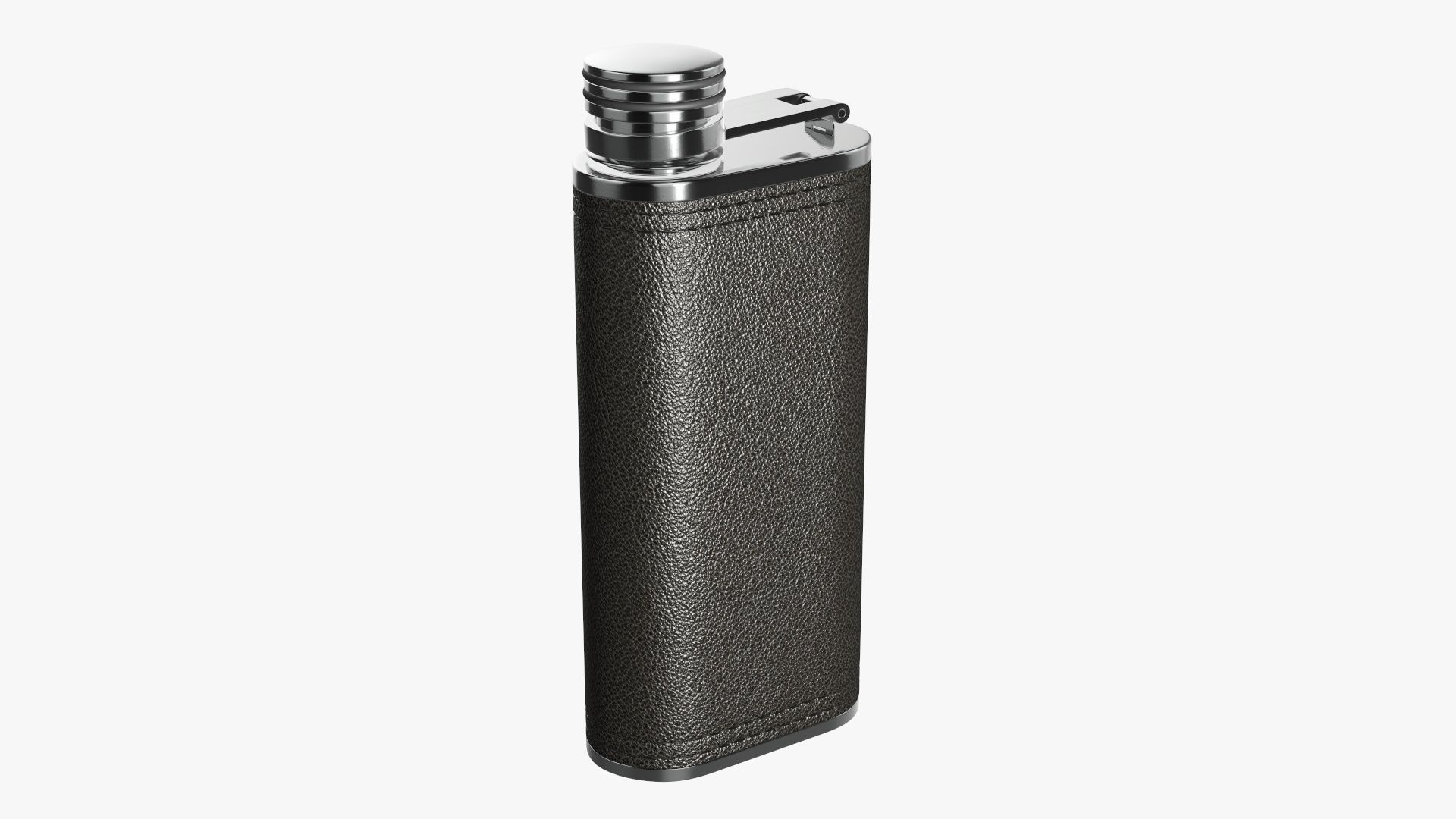 Liquor flask stainless steel leather wrap 03