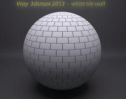 white tile wall vray shader 3D model