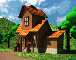 3d model realtime cartoon house low-poly