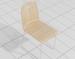 seating Wooden Chair 3D