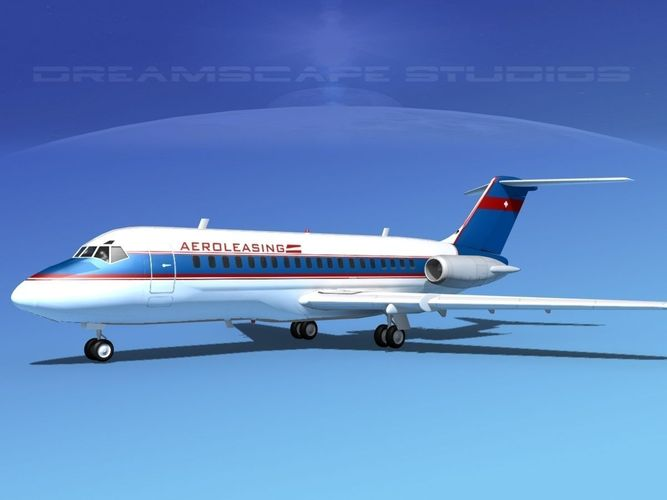 doulgas dc-9-20 aero leasing 3d model rigged max obj 3ds lwo lw lws dxf stl 1
