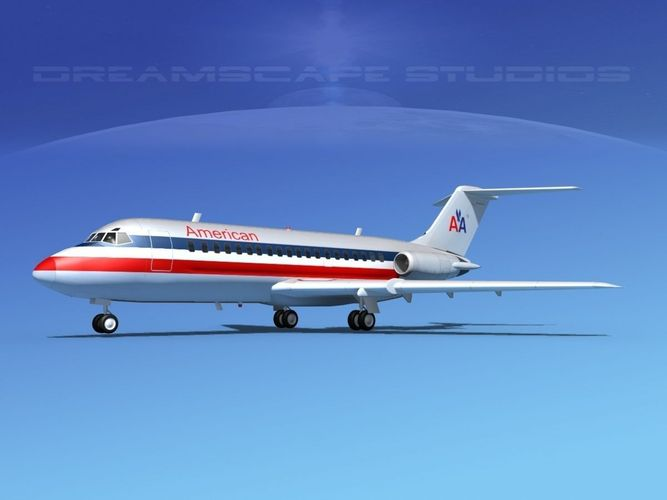 douglas dc-9-20 american airlines 2 3d model rigged max obj 3ds lwo lw lws dxf stl 1