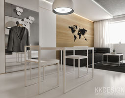 3d model white minimalistic flat interior for small family