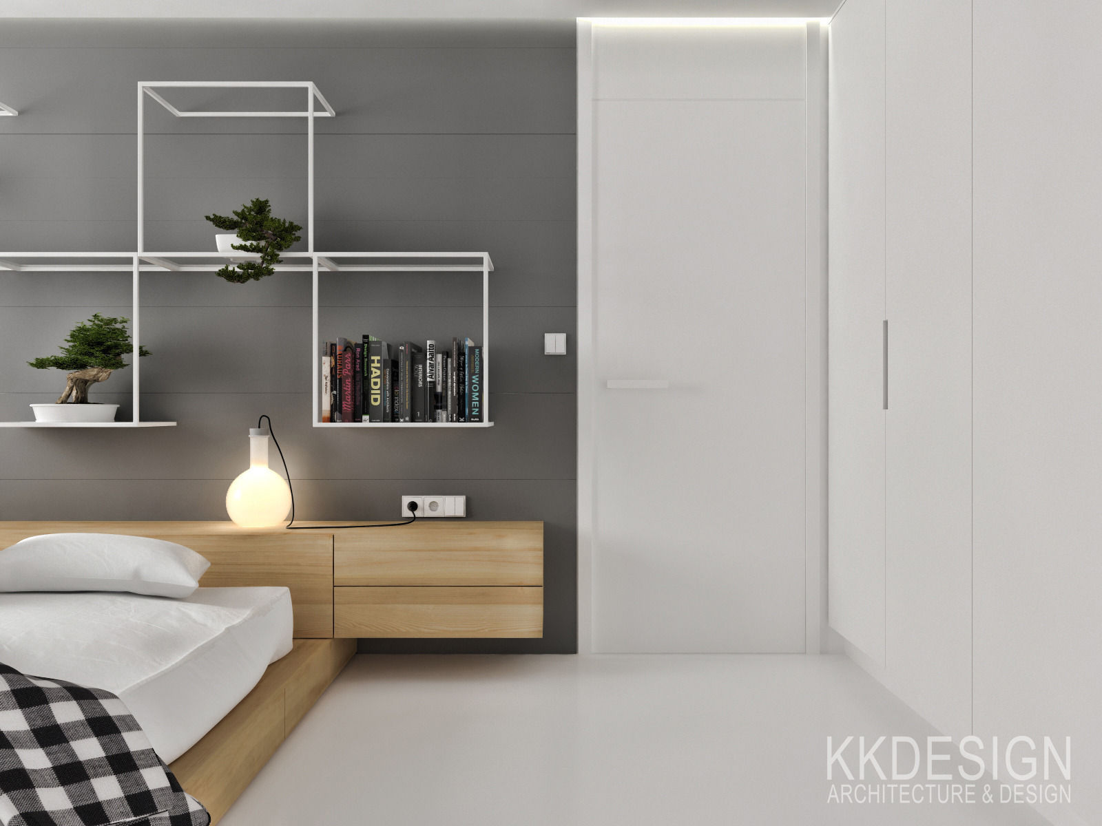 White minimalistic flat interior for small family 3d model for Small flat interior