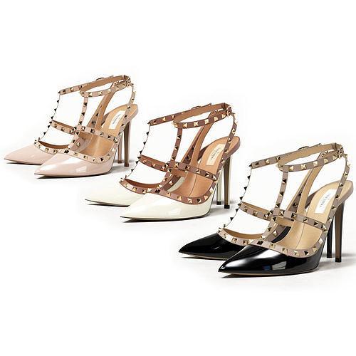 Valentino Patent Rockstud Caged High Heels