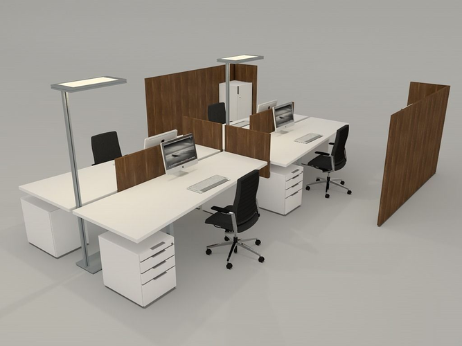 Office Desk With Accessories Model S Fbx C4d 1