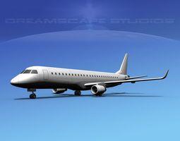 rigged embraer e-190 lp ss 3d model