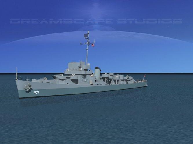 evarts class destroyer de271 uss flemming 3d model max 3ds lwo lw lws dxf dae dwg 1