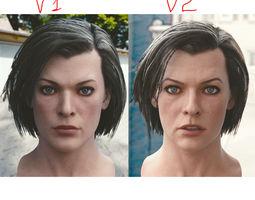 3d model Milla Jovovich head game-ready
